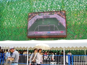 Football game in Brazilian Pavilion